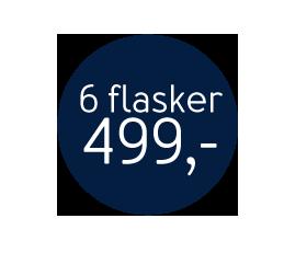 6 flasker 499,-